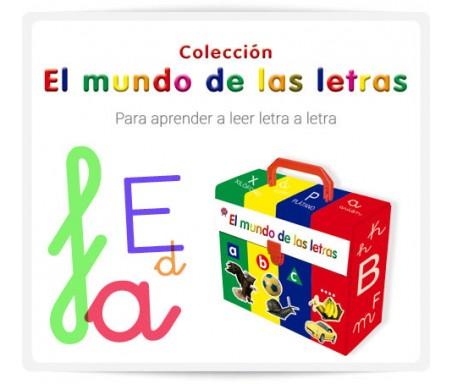 """EL MUNDO DE LAS LETRAS  """"El mundo de las letras"""", es una colección compuesta de 20 libros con más de 220 imágenes de gran calidad en un atractivo estuche. Se ha desarrollado para trabajar el abecedario completo. En cada volumen encontramos la grafía a estudiar tanto en mayúscula como en manuscrita, así como en letra tipográfica y caligráfica, en diferentes textos, mas sencillos o mas complejos, dependiendo de la edad del niño. De esta forma, el niño aprende a reconocer, en diferentes contextos, cada una de las letras que forman el abecedario."""