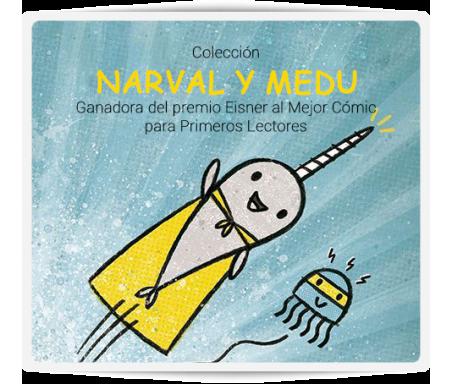 Narval y Medu  Únete a Narval y Medu y vive sus aventuras en el gran océano junto a su pandilla. Una magnífica serie escrita en mayúsculas para que los pequeños empiecen a ser lectores autónomos.